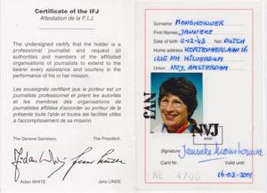 Internationale perskaart Janneke Monshouwer